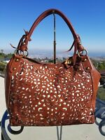 Isabella Fiore Intricate Leather Lattice Work Handbag, Shoulder Bag, Tote, Hobo