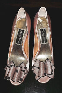 Beverly Feldman Women's High Heel Shoes Satin Beige with Bow and Black Doots