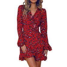 Women Sexy V-Neck Leopard Printed Ruffled Hem Flare Sleeve Party Wrap Mini Dress