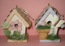 """New listing Two 6"""" tall Tin and Wood Decorative Mini Birdhouses Butterfly Bird"""