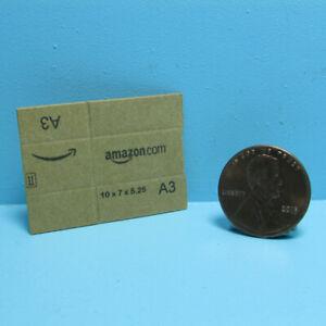Dollhouse Miniature Cardboard Shipping Amazon Box Flat or Fold Brown L4012