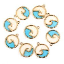 10PC Enamel Sea Wave Round Zinc Alloy Charm Pendant For DIY Jewelry Craft