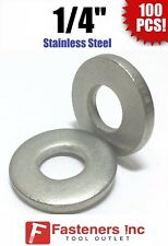 """(Qty 100) 1/4"""" Stainless Steel EXTRA THICK HEAVY DUTY Flat Washers"""