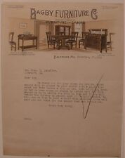 Color Illustrated Bagby Furniture Co. Manufacturers Baltimore MD Letterhead 1915