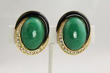 CINER LARGE Vintage PEKING GLASS CABOCHON ENAMEL & PAVE RHINESTONE CLIP EARRINGS