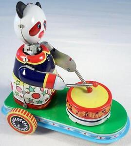 Drumming Panda on Cart Tin Toy, SEE VIDEO - FREE Shipping!