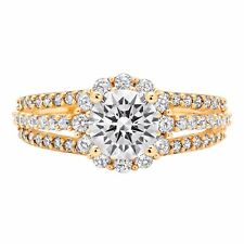 1.98 ct Round Cut Halo Solitaire Engagement Bridal Wedding Ring 14K Yellow Gold