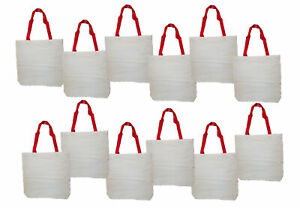 """Lot of 12 White Cotton Totes 14 1/2"""" x 14 1/2"""" DIY Customize Craft Bags"""