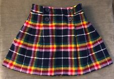 Girl's 7-8Y 7 8 128cm 128 MINI BODEN Plaid Faux Wrap Pleated Wool Skirt