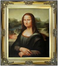 Framed, Leonardo da Vinci Mona Lisa Repro, Hand Painted Oil Painting, 20x24in