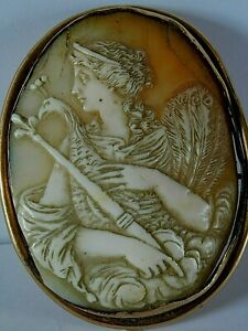 LARGE ANTIQUE CARVED SHELL CAMEO BROOCH / PIN, 6 X 5 CM CLASSICAL LADY / PEACOCK