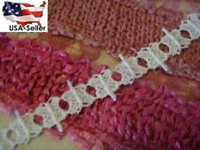 "2 yards white Venise Venice butterfly scalloped  insert lace trim 3/4"" doll"