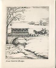 VINTAGE CHRISTMAS SNOW COVERED BRIDGE HORSE STREAM PHOTOGRAVURE ART CARD PRINT