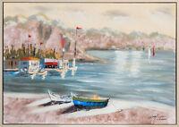 Original Ölgemälde Meer Strand Schiffe Italien Gemälde mit Rahmen Bild 104cm