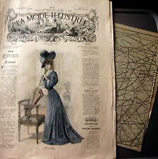 LA MODE ILLUSTREE + PATRON,  n° 26/1908 Voir modèles à réaliser, FRENCH PATTERN