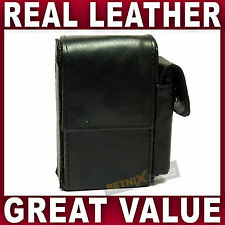 Black REAL LEATHER CIGARETTE CASE with lighter pouch holder GENTS LADIES WOMENS