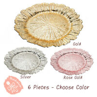 6 pc Reef Pattern Acrylic Plastic Charger Plate Shiny Finish Rose Gold Silver