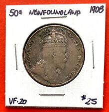 1908 Newfoundland 50 Cent Coin Fifty Silver Half Dollar - Very Fine