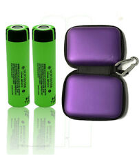 2 x Panasonic ncr18650b li-Ione Batteria 3,7v 3400mah con Zipper Case Viola