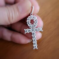 5 Ct Diamond Ankh Cross Womens Pendant Necklace Mens Pendant 14K Gold with Chain