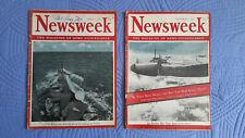 Lot of 2 vintage 1942 NEWSWEEK magazine - August 3 & September 21 - WWII War