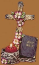 """Dogwood Cross 9"""" Candleholder / Necklace stand Ceramic Bisque, Ready To paint"""