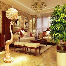 LED Remote Control Floor Lamp Crystal Luxury Vintage Peacock Golden Floor Light