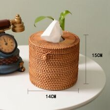 Round Rattan Tissue Box Vine Roll Holder Toilet Paper Cover Dispenser Barthroom