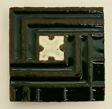 Signed Grueby Antique Tile with Geometric Pattern-Black