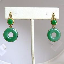 "1.35"" Pair of Chinese 19K Yellow Gold & Green JADEITE Jade Earrings  (8.9 grams)"