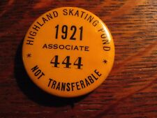 Highland Skating Pond Lapel Pin - Vintage 1921 USA Ice Skater Winter Associate