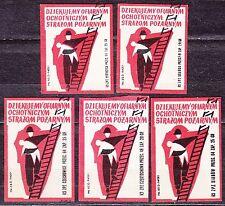 POLAND 1963 Matchbox Label - Cat.Z#407  Thank you ..., Voluntary Fire Brigades.