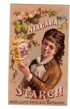 niagara Gloss Starch Buffalo NY Lady in Brown Dress Wesp Lautz Vict Card c1880s