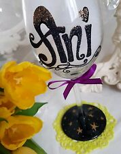 PERSONALISED glitter 18th 21st 40th Birthday Wine Shot Flute Glass Gift Present.