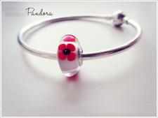 Pandora Murano wild poppy flower charm  791636 (Ale s925 Genuine)