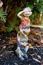 Pixie Totem Pole See, speak hear No Evil Garden Lawn Ornament Pixies New 6 in.