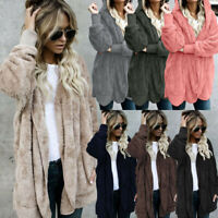 Women Long Sleeve Hooded Knit Fluffy Cardigan Sweater Parka Outwear Coat Jacket