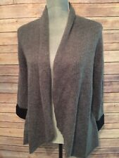 Wooden Ships Cuffed Blazer Open Cardigan Sweater Gray With Black Accents M/L