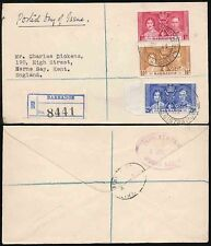BARBADOS 1937 CORONATION FDC to CHARLES DICKENS GRANDSON HERNE BAY REGISTERED