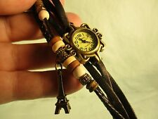Viser ladies watch with ecclectic leather band with beads and Eiffel Tower charm