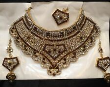 Bollywood Indian Bridal Necklace Earrings Tikka Jewellery Gold Brown White B8