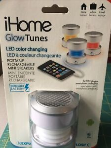 iHome iHM59 Rechargeable Mini Speaker - White LED Color Changing