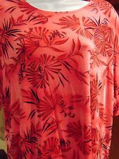 Picadilly Fashions Women's Pink 3/4 Sleeve Floral  Padded shoulder Blouse L