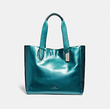 Coach Large DERBY Leather Tote Bag Metallic Dark Teal F59388 Authentic Seal RARE