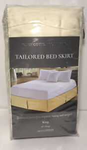 """LUXURY COTTON COLLECTION Tailored Bed Skirt 16"""" DROP 100% Cotton CREAM King Size"""