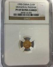 1990 China 1g phoenix dragon gold coin NGC PF69
