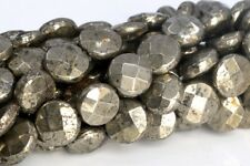 10x4MM Copper Pyrite Faceted Flat Round Button AAA Natural Loose Beads 15.5""