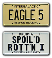 Spaceballs   EAGLE 5 + SPOILED ROTTEN   STAMPED Replica Prop License Plate Combo