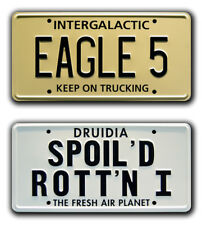 Spaceballs | EAGLE 5 + SPOILED ROTTEN | STAMPED Replica Prop License Plate Combo