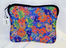 J Crew Neoprene Pouch Tech Case Blue Red Green Floral Zipper Closure New NWTS
